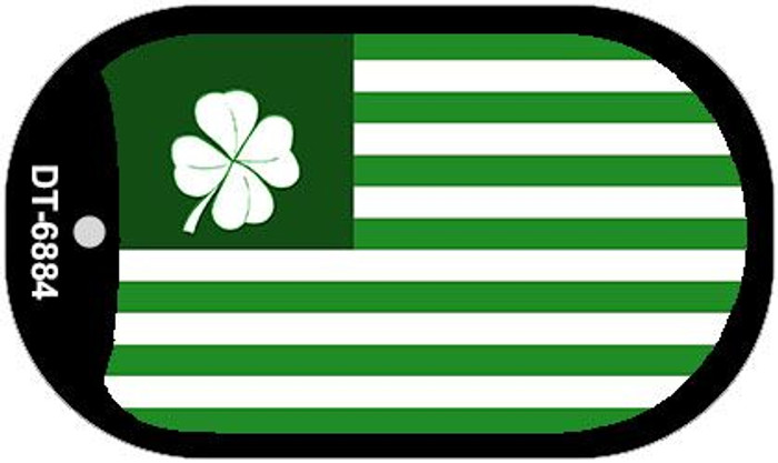Green Shamrock Flag Novelty Metal Dog Tag Necklace DT-6884
