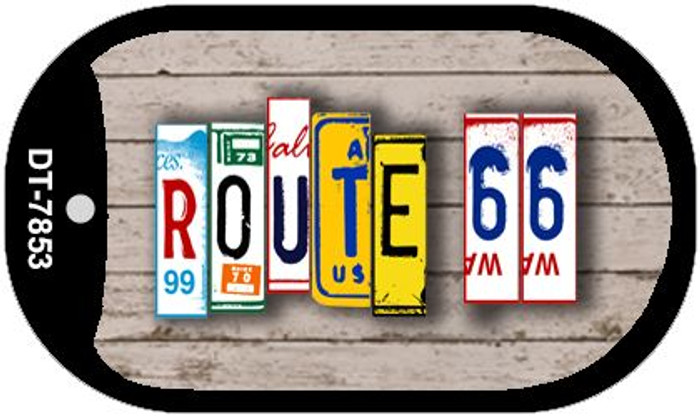 Route 66 License Plate Art Novelty Metal Dog Tag Necklace DT-7853