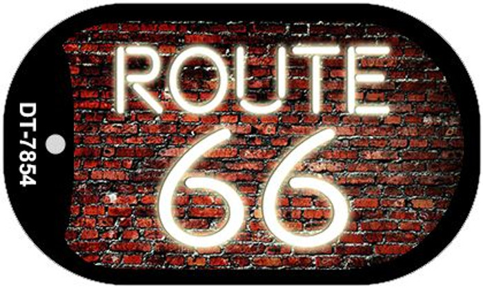 Route 66 Neon Brick Novelty Metal Dog Tag Necklace DT-7854