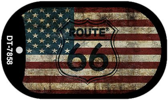 Route 66 American Flag Novelty Metal Dog Tag Necklace DT-7858