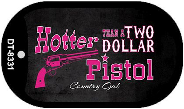 Two Dollar Pistol Novelty Metal Dog Tag Necklace DT-8331