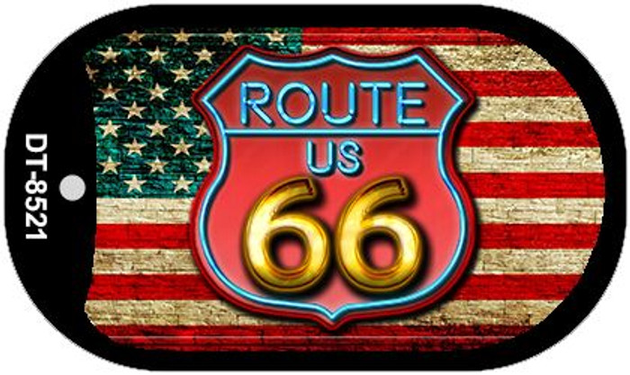 Route 66 American Flag Neon Novelty Metal Dog Tag Necklace DT-8521