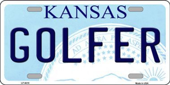 Golfer Kansas Novelty Metal License Plate LP-6619