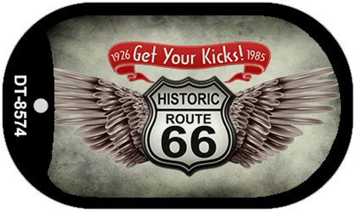 Route 66 Wings Get Your Kicks Novelty Metal Dog Tag Necklace DT-8574