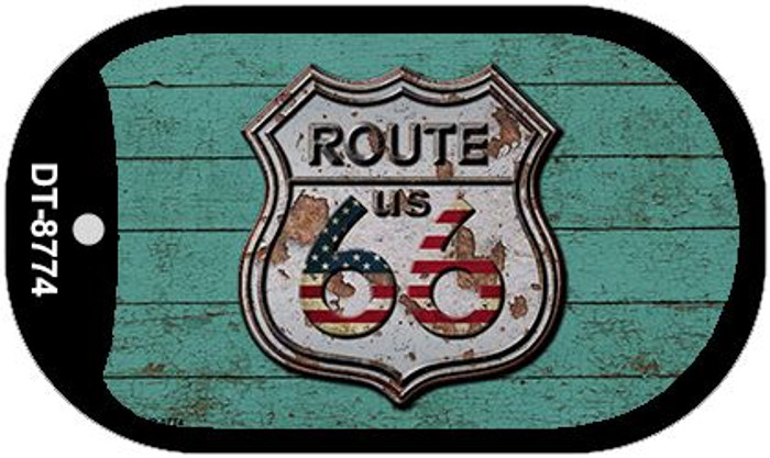 Route 66 Wood Rusty Logo Novelty Metal Dog Tag Necklace DT-8774