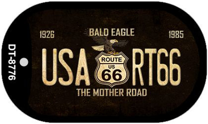 Route 66 Bald Eagle Novelty Metal Dog Tag Necklace DT-8776