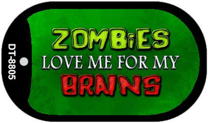 Zombies Love Me Novelty Metal Dog Tag Necklace DT-8805