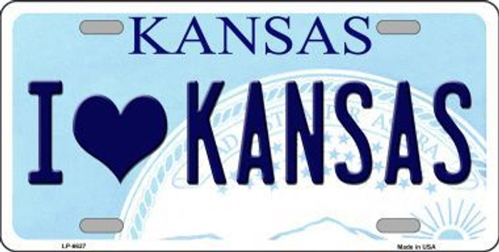 I Love Kansas Novelty Metal License Plate LP-6627
