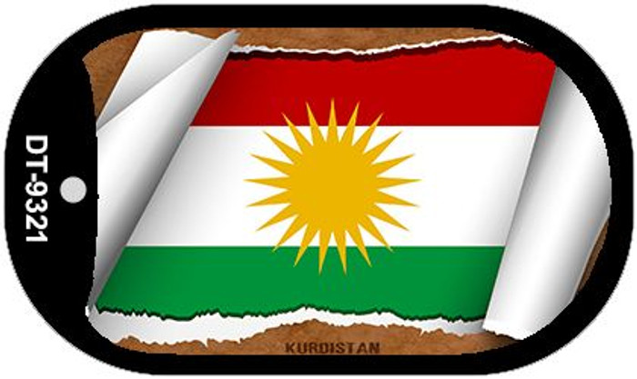 Kurdistan Flag Scroll Novelty Metal Dog Tag Necklace DT-9321