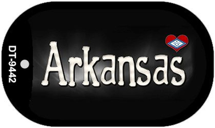 Arkansas Flag Script Novelty Metal Dog Tag Necklace DT-9442
