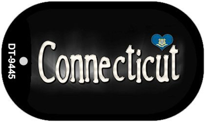 Connecticut Flag Script Novelty Metal Dog Tag Necklace DT-9445