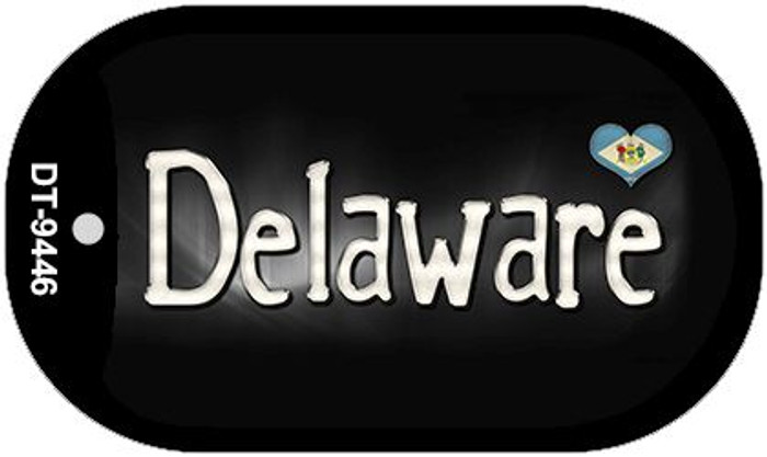 Delaware Flag Script Novelty Metal Dog Tag Necklace DT-9446