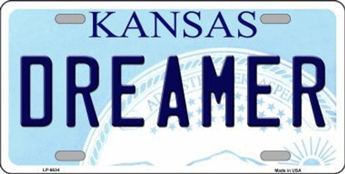 Dreamer Kansas Novelty Metal License Plate
