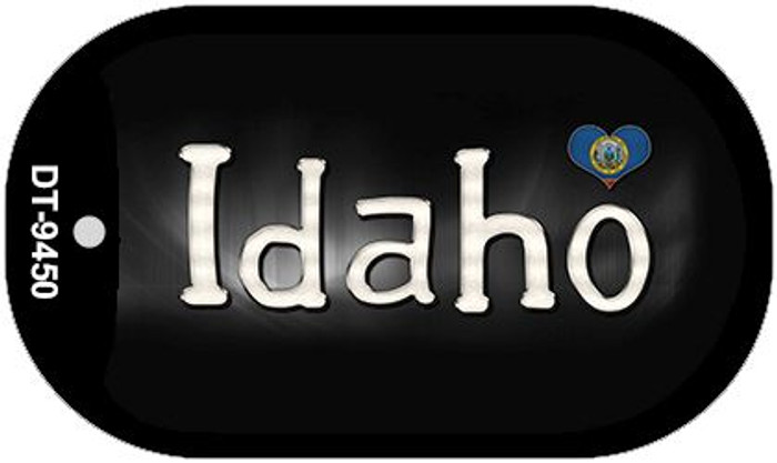 Idaho Flag Script Novelty Metal Dog Tag Necklace DT-9450