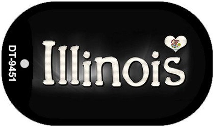 Illinois Flag Script Novelty Metal Dog Tag Necklace DT-9451