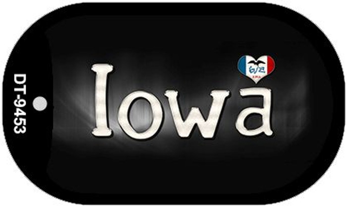 Iowa Flag Script Novelty Metal Dog Tag Necklace DT-9453