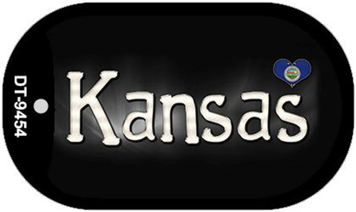 Kansas Flag Script Novelty Metal Dog Tag Necklace DT-9454