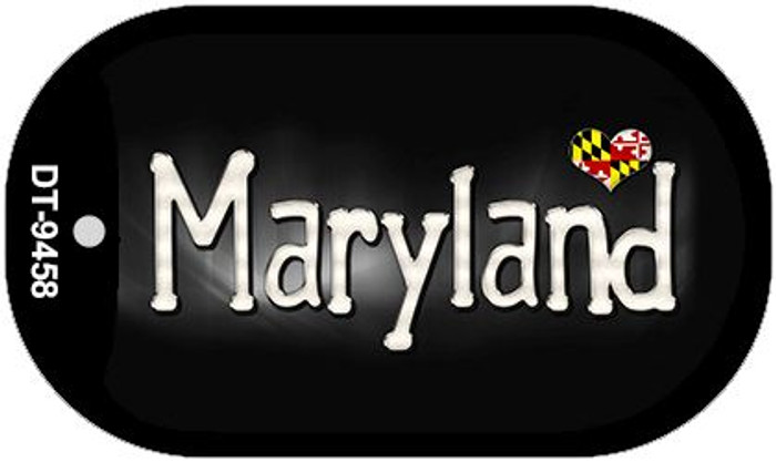 Maryland Flag Script Novelty Metal Dog Tag Necklace DT-9458