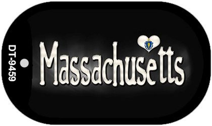 Massachusetts Flag Script Novelty Metal Dog Tag Necklace DT-9459
