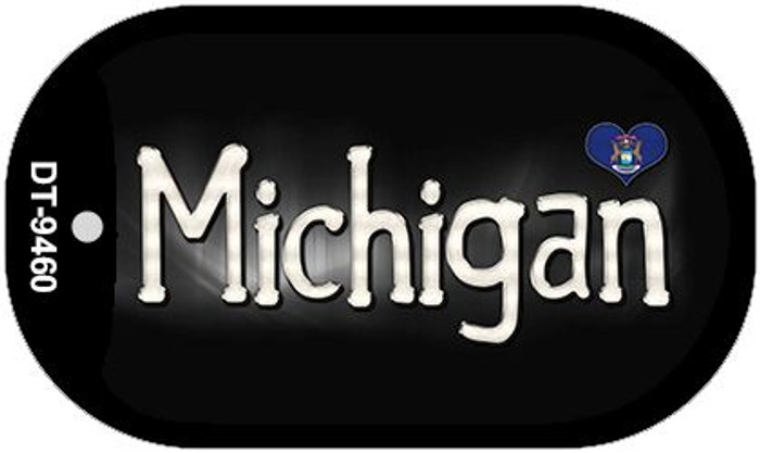 Michigan Flag Script Novelty Metal Dog Tag Necklace DT-9460