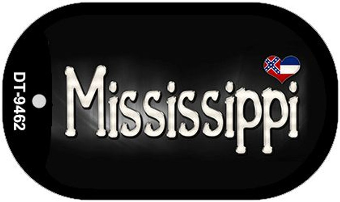 Mississippi Flag Script Novelty Metal Dog Tag Necklace DT-9462