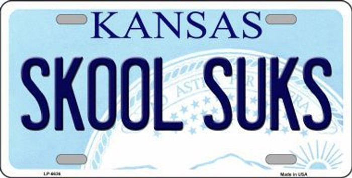 Skool Suks Kansas Novelty Metal License Plate