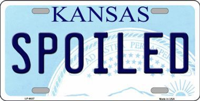 Spoiled Kansas Novelty Metal License Plate