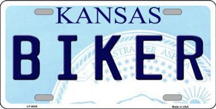 Biker Kansas Novelty Metal License Plate