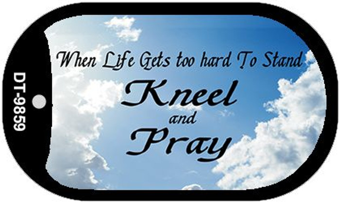 Kneel and Pray Clouds Novelty Metal Dog Tag Necklace DT-9859