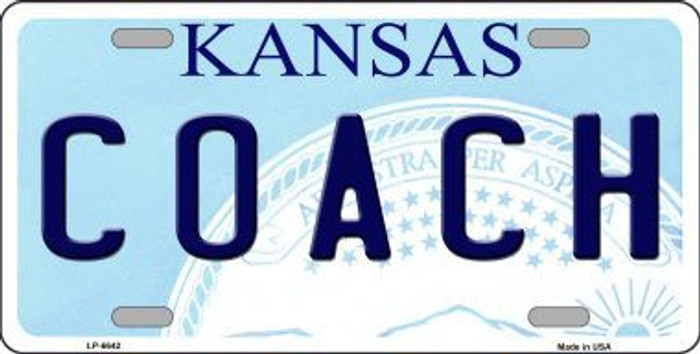 Coach Kansas Novelty Metal License Plate