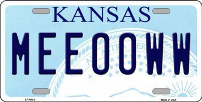 Meeooww Kansas Novelty Metal License Plate