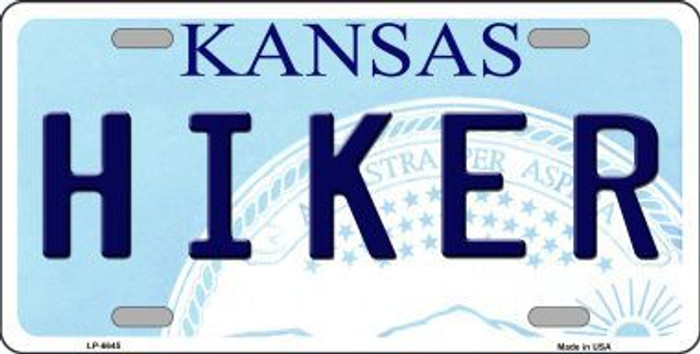 Hiker Kansas Novelty Metal License Plate