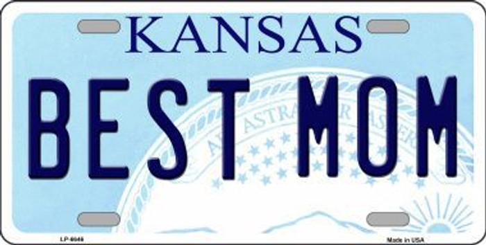 Best Mom Kansas Novelty Metal License Plate