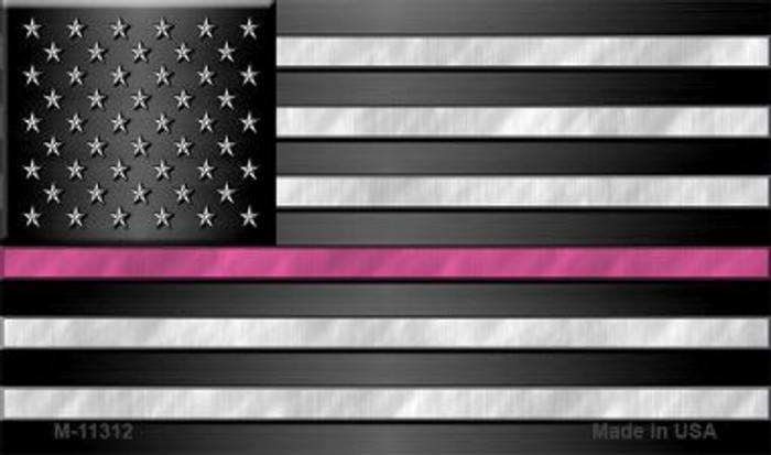 American Flag Pink Stripe Novelty Metal Magnet M-11312