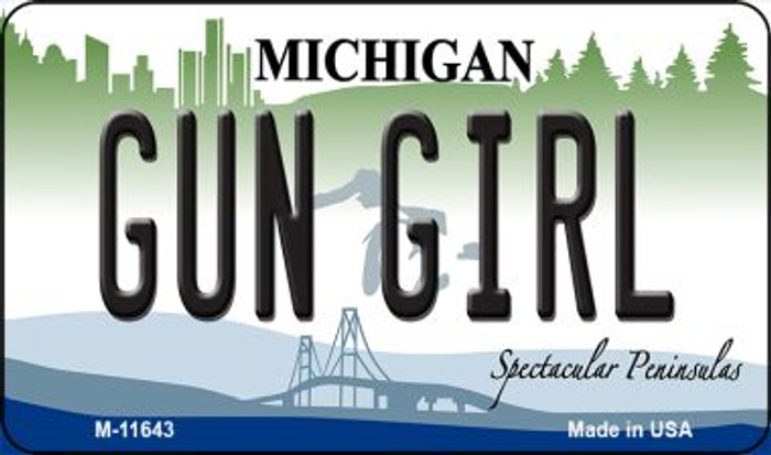Gun Girl Michigan Novelty Metal Magnet M-11643