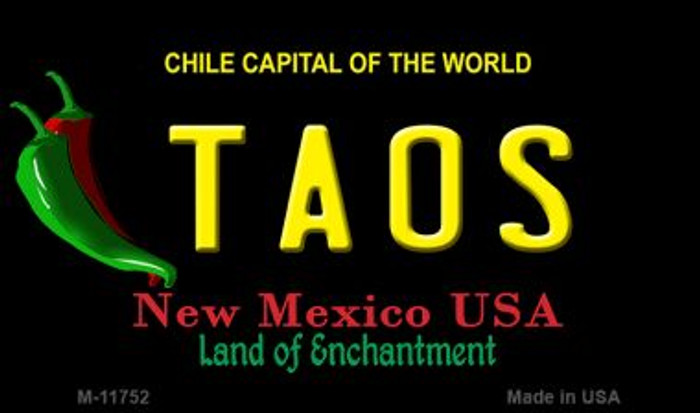 Taos New Mexico Black State Magnet M-11752