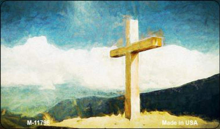 Cross On Mountain Novelty Metal Magnet M-11796