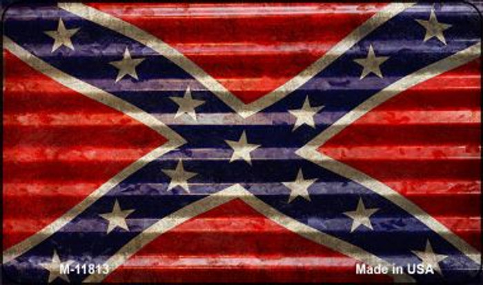 Confederate Flag Corrugated Novelty Metal Magnet M-11813