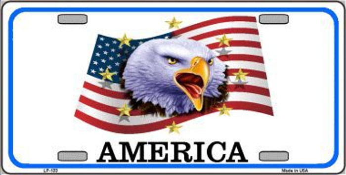 Waving Flag Bald Eagle Novelty Metal License Plate