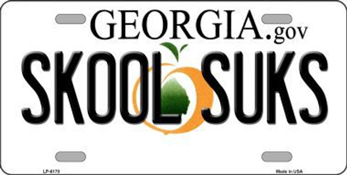 Skool Suks Georgia Novelty Metal License Plate