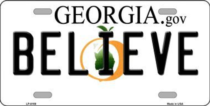 Believe Georgia Novelty Metal License Plate
