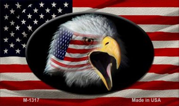 American Flag With Eagle Novelty Metal Magnet M-1317
