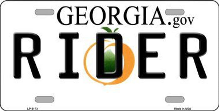 Rider Georgia Novelty Metal License Plate