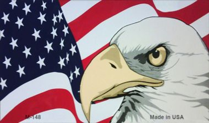 American Flag With Eagle Novelty Metal Magnet M-148