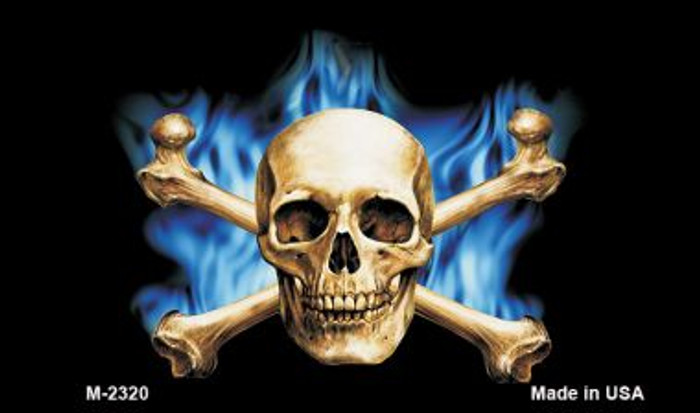 Blue Flame And Crossbones Novelty Metal Magnet M-2320
