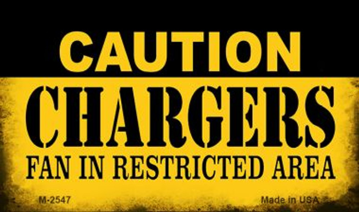 Caution Chargers Fan Area Novelty Metal Magnet M-2547