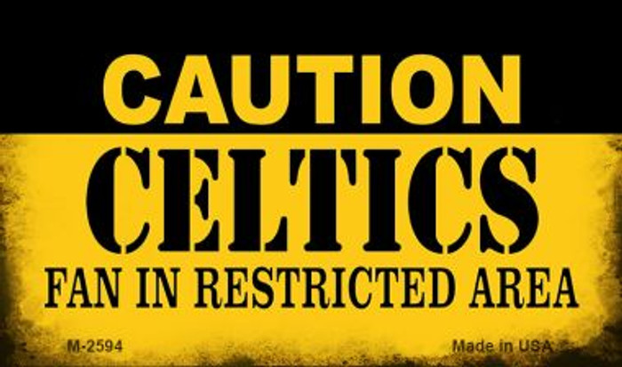 Caution Celtics Fan Area Novelty Metal Magnet M-2594