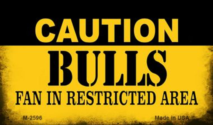 Caution Bulls Fan Area Novelty Metal Magnet M-2596