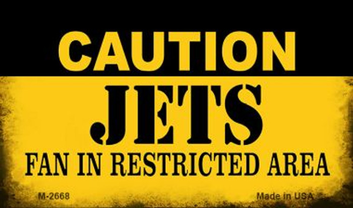Caution Jets Fan Area Novelty Metal Magnet M-2668