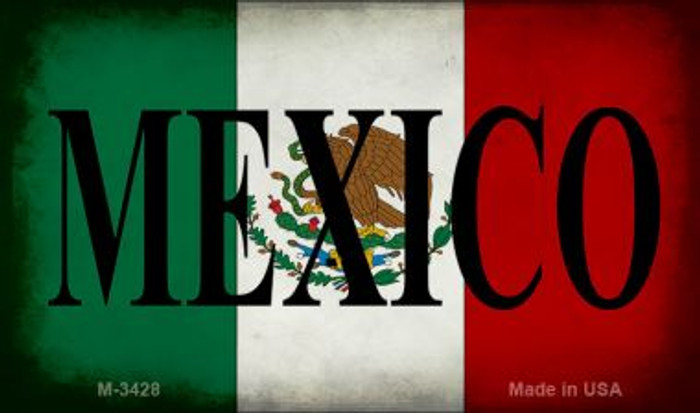Mexico With Flag Novelty Metal Magnet M-3428